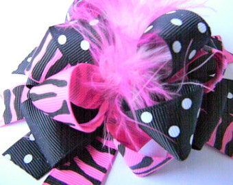 Zebra Hair bows - Over the Top Hot Pink Zebra