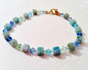 Oceanic Jasper and Swarovski Crystal Bracelet - Tidal I