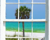 Wall mural window, self adhesive, gulf window view-large 24x36-Beach with palm-part 1 - free US shipping