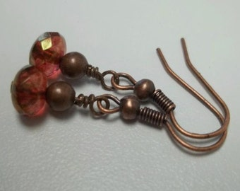 AB Red copper earrings Antiqued copper Czech Glass Faceted Fire Polished Rondelle