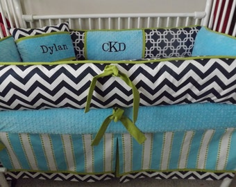 Navy,Turquoise And Lime  Baby bedding Crib set DEPOSIT