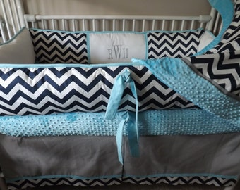Modern Chevron Custom Bedding Baby boy Bumper Pad Crib Set Gray, Turqoise and Navy DEPOSIT Down payment