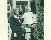 Denver Co Grandmother and Toddler Baby Girl Dress Bonnet Colorado Vintage Black White Photo Photograph