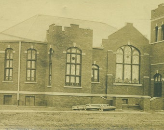 Red Brick Church Antique Building  RPPC Real Photo Postcard Vintage Black and White Photograph