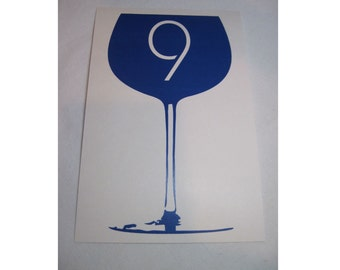 Vineyard Wine Glass Table Numbers Customizable Flat 1-20