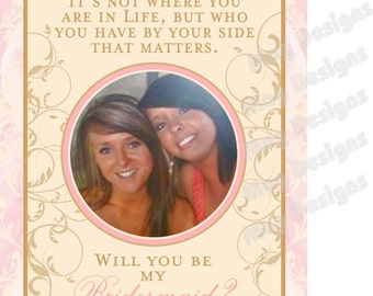 Wedding Bridesmaid Photo Wine Labels - Floral- Personalized Bridesmaid Gifts Flowers