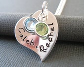 Hand Stamped Mommy Necklace - Personalized Jewelry - Sterling Silver Necklace  - Whimsical Heart Pendant