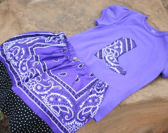 Ready to Ship Purple Bandana Skirt Set Size 5T with Cowboy Boot Applique Purple Shirt for your Cowgirl