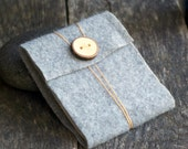 Felt Journal - Orange Cotton Thread Wrap Closure - Upcycled Natural Wool with Handmade Wood Button - thesittingtree
