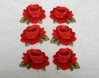 6 RED ROSES  Cotton Fabric  appliques
