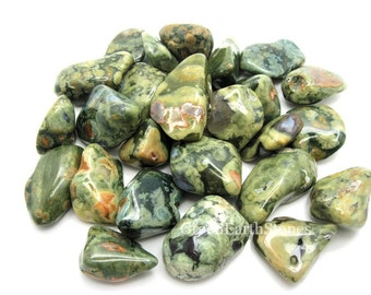 Rainforest Rhyolite Tumbled Stone, Pocket Stone, Crystal Healing, Rock Hound, Wire Wrapping, Grids, Feng Shui