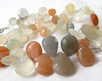 Moonstone Pear Briolettes, multi colored moonstone, Faceted Pear Beads (4w51a)