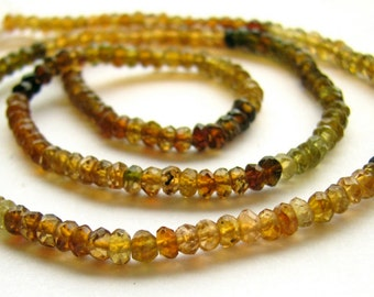 Petrol Tourmaline Faceted Rondelle Beads. FULL Strand. (11m23)