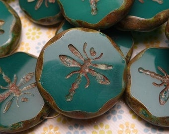 Turquoise Glass Dragonfly Pendant Bead 22mm