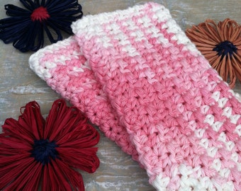 Dish/Facial Cloths.....set of 2 in Pink and White.....