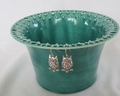 Tall Green with Streaks of Darker Glaze Earring Holder  Made From Wheel Thrown Pottery