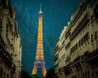 Paris Night Photograph Night Sky Paris Photo Eiffel Tower Print France Fine Art Print  par63