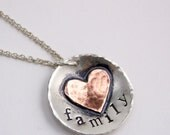 Personalized Heart Necklace with Sterling Silver and Copper Heart