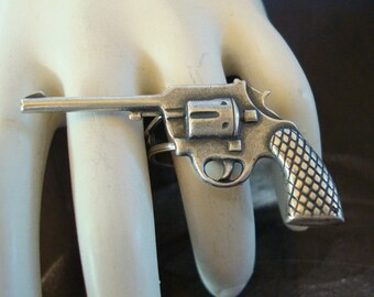 Ring, Jewelry, 45 Revolver, Pistol, Gun Ring, Weapon, Adjustable, Metal Bonded NOT Glued Together, Handmade, USA