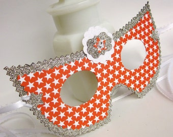 Red White and Silver Star Masquerade Ball Mask
