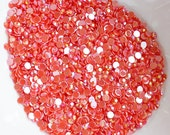 500 Coral Red AB Resin Rhinestone Cabochon SS20 5mm Bling Scrapbooking Embellishment Nail Art LR199