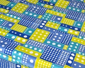 Vintage Fabric - Domino Dot Print in Green and Blue - 39 x 52 Broadcloth