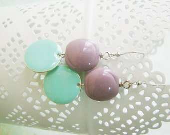 Ice cream - vintage creamy raspberry beads light green epoxy discs nickel free silver tone earrings, teenage daughters, young ladies