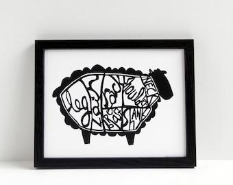 lamb butchery - papercut style print