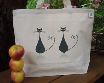 Natural cotton market tote - Large canvas tote - Reusable shopping bag - Farmers market bag  - Cats