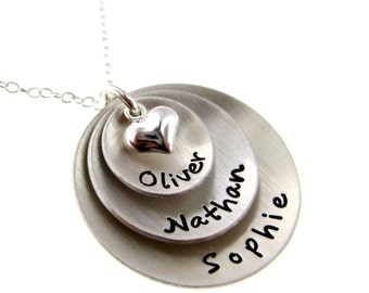 Domed Hand Stamped Personalized Sterling Silver Necklace for Mom - Three Pendants