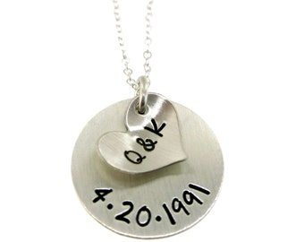 Personalized / Customized Sterling Silver Necklace - Our Initials and Anniversary Date Hand Stamped Jewelry