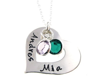 """Personalized Necklace Hand Stamped Jewelry - """"Heart and Soul with Birthstone Crystals"""" Sterling Silver Necklace"""