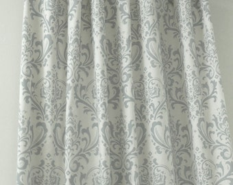 """Two 50"""" wide curtain panels drapes,Traditions damask grey and white"""
