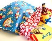 Handmade Retro Vintage Inspired Laundry Bag / Toy Bag / Pajamas Bag. Michael Miller Retro Rocket Rascals. Space & Rocket Ships