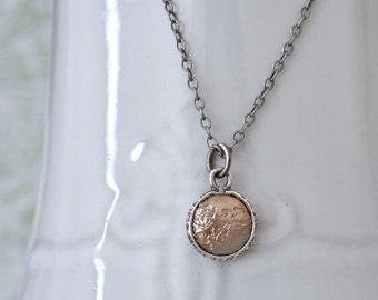 antiqued sterling silver necklace FULL MOON dainty textured glass coin pearl charm