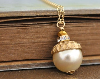 acorn necklace, pearl necklace, wedding bridal, fall wedding, TINY ACORN, 14k gold filled chain, creamrose pearl necklace