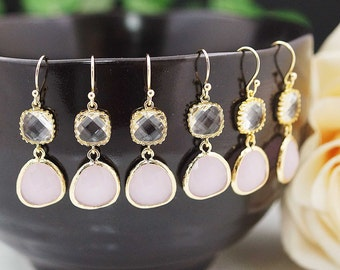 Wedding Jewelry Bridesmaid Earrings Dangle Earrings Gold Framed clear white and pink opal icy pink glass drop Earrings