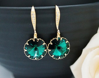 Wedding Jewelry Bridesmaid Jewelry Bridal Earrings Bridesmaid Earrings Dangle Earrings Emerald Swarovski round Crystal drop Earrings