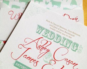 Vintage Barn/Farm Wedding Invitation Set - Teal/Red