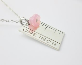 One Inch Ruler Necklace (A022). Brass Ruler Charm with Pink Czech Glass Bell Flower
