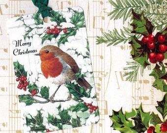 Christmas Tags Bird & Holly Merry Christmas