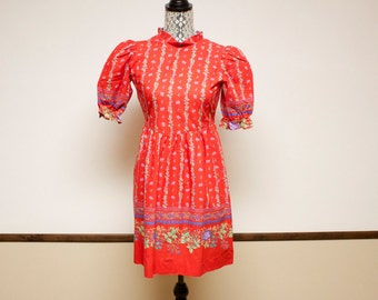 Vintage Floral Dress - 1980s Jane Schaffhausen Red Floral Dress
