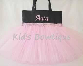 Monogrammed Black Tutu Tote Bag with Pink/Lavender Sequins Trim