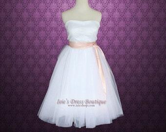 Strapless Ballerina Tulle Tutu Short Knee Length Destination Wedding Dress | Short Wedding Dress | Tea Length Wedding Dress | Short Dress