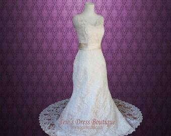 Vintage Lace A-line Wedding Dress with V Neck and Low V Back | Lauren | Lace Wedding Dress | Vintage Wedding Dress