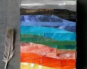 Abstract Landscape- Paper Art- Wood Block- Original Mixed Media- 4 x 6 x 1- Paper Mosaic- Stripes, Horizon- Ready to Hang