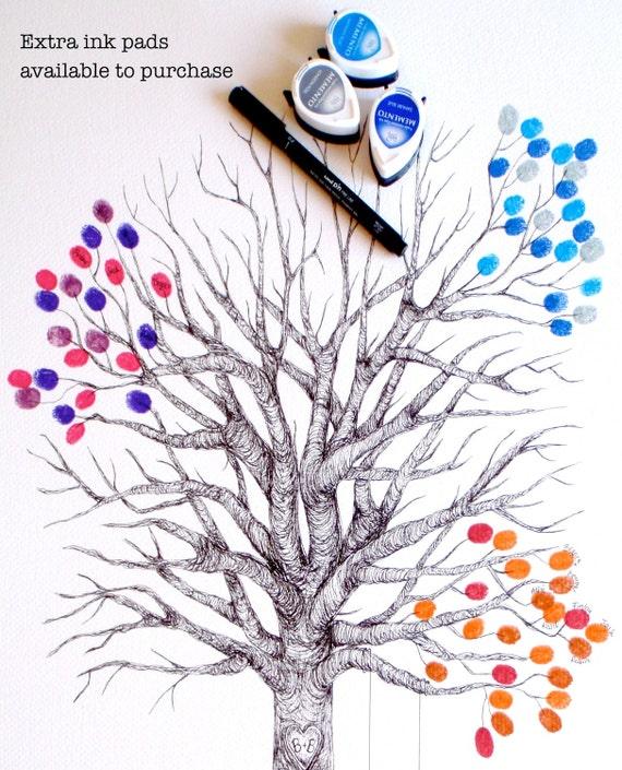 Small Fingerprint Live Oak Tree Wedding Guest Book Hand Drawn: Medium Fingerprint Tree Wedding Guest Book Hand Drawn In Ink