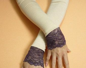 Long Retro Armwarmers, Aubergine Beige Fingerless Wedding Gloves with Lace, Stretchy Regency Sleeves, Regency, 20's Style