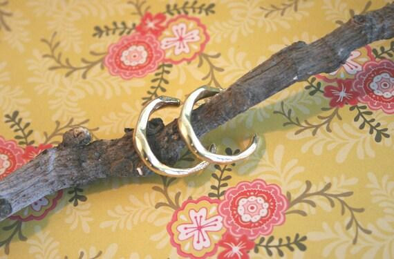 Small Hoop Earrings - Gold Hoops - Tiny Hoop Earrings - 18k Gold Plated - Hammered Hoop