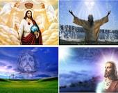 Lot Of 6 Religious New Jesus Fabric Panel Quilt Squares